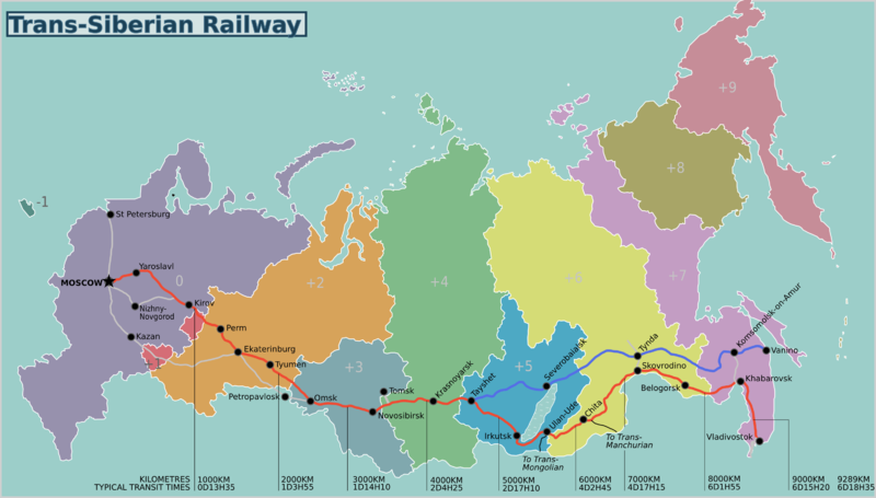 The Trans-Siberian route with time zones.